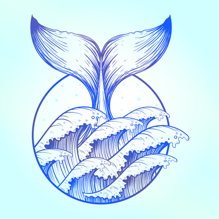 Whale tail in blue sea waves, boho tattoo. Ocean line art drawing. Vector illustration, nautical symbol, tattoo design, sketch isolated on blue for t-shirt print, poster, textile. Vector Illustration