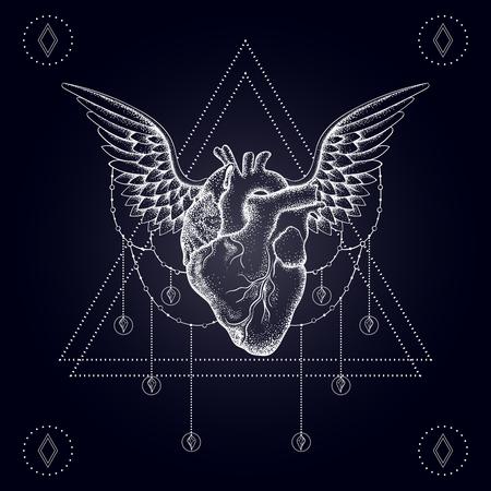 Corazón con las alas, blackwork boho, tatuaje dotwork. ilustración vectorial de Bohemia, símbolo místico náutica del amor, diseño del tatuaje, esbozo aislados en oscuridad durante camiseta de la impresión, cartel, textil.