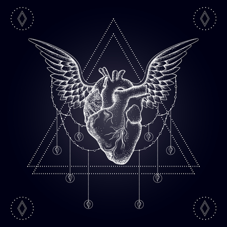 Heart with wings, boho blackwork, dotwork tattoo. Bohemian vector illustration, nautical mystical symbol of love, tattoo design, sketch isolated on dark for t-shirt print, poster, textile.