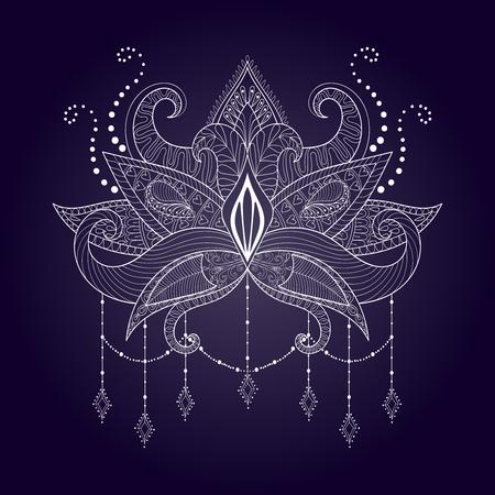 Boho ornamental de flores de loto blanco, diseño del tatuaje blackwork, Paisley indio. aislado vector dibujado a mano ilustración. Mística, la astrología, el ritual, símbolo de yoga bohemio con estilo.