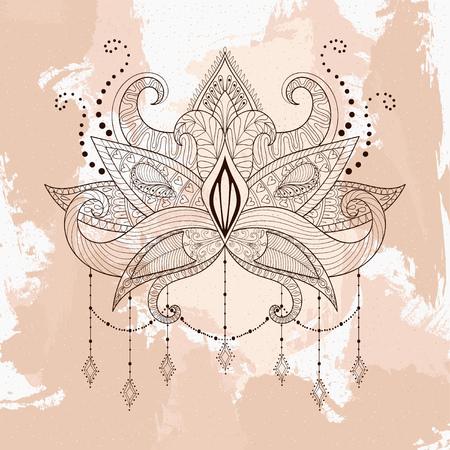 tattoo design: Boho ornamental lotus flower, henna tattoo design, Indian paisley. Hand drawn Vector illustration. Mystical, astrology, ritual, bohemian, yoga symbol in style.