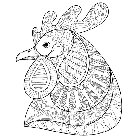 cock hand: Cartoon rooster or cock. Hand drawn sketch for adult coloring page, doodle t-shirt print. Happy Xmas decorative elements. Vector illustration for New Year 2017 greeting cards, posters.