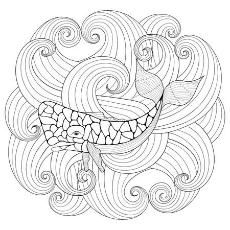 blue whale: Whale in waves, style. Freehand sketch for adult coloring page with doodle elements. Ornamental artistic vector illustration for tattoo, t-shirt print. Sea and ocean animal collection. Illustration