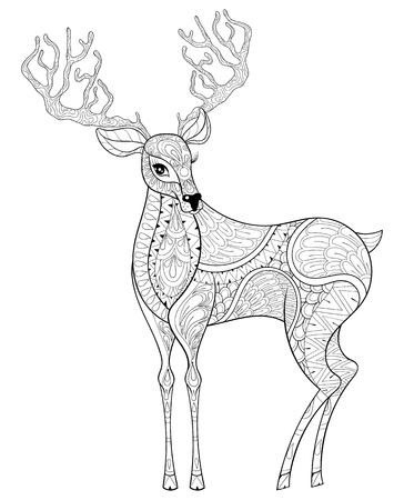 Vector De Navidad Renos Alces Cuernos Para Colorear Adultos Antiestrés Dibujado A Mano Ilustración Para El Año Nuevo 2017 Tarjetas De