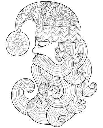Fancy Santa Seamless Pattern, Zentangle Style. Bosquejo étnico A ...