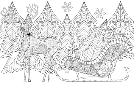 Reindeer with Sledges of Santa with Christmas tree, gifts, snowflakes in patterned style for adult anti stress coloring pages, art therapy, tattoo. Vector illustration on white background. Hand drawn sketch.
