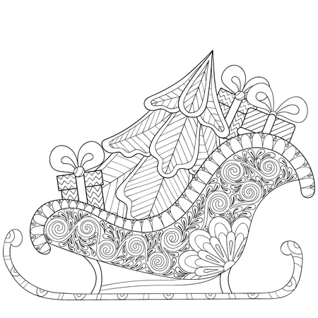 Christmas sledges of Santa with Christmas tree, gifts in patterned style for adult anti stress coloring pages, art therapy, tattoo. Vector illustration on white background. Hand drawn sketch.