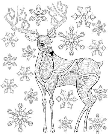 Vector Weihnachten Rentier, Gehörnte Elch Für Erwachsene Anti-Stress ...