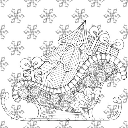 christma: Christmas sledges of Santa with Christmas tree, gifts on snowflakes seamless pattern, for adult anti stress coloring pages, art therapy, tattoo. Vector illustration on white background. Hand drawn sketch.