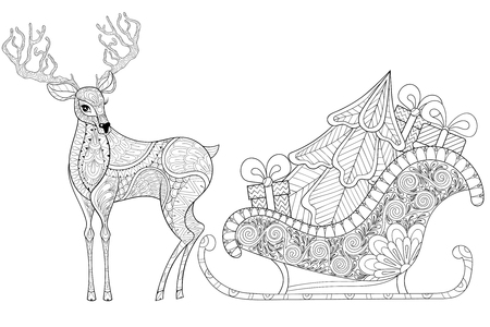 Reindeer with Sledges of Santa with Christmas tree, gifts in patterned style for adult anti stress coloring pages, art therapy, tattoo. Vector illustration on white background. Hand drawn sketch.