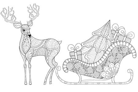 Rentier mit Schlitten von Santa mit Weihnachtsbaum, Geschenke in gemusterten Stil für erwachsene Anti-Stress-Malvorlagen, Kunsttherapie, Tätowierung. Vektor-Illustration auf weißem Hintergrund. Hand gezeichnete Skizze. Vektorgrafik