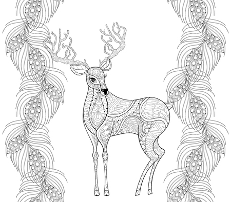 books isolated: reindeer with fir, pine branch seamless frame for Christmas adult coloring books, greeting cards. Hand drawn Vector illustration isolated on white background.