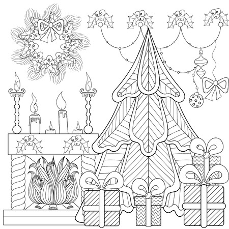 Patterned Christmas home interior with fireplace, Christmas tree, gifts for adult anti stress coloring page, book, art therapy, tattoo. Vector illustration, hand drawn sketch, holiday colour in Illustration