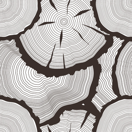 rings on a tree cut: tree rings set, concept of saw cut pine, forest fir-tree trunk,slice, freehand sawmill background, wooden texture illustration, seamless pattern