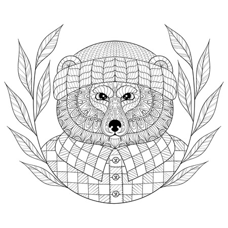 antistress: Bear in hat with wreath, doodle style.  Wild animal head illustration for adult coloring pages, art therapy, craft beer . Monochrome sketch for  t-shirt print.