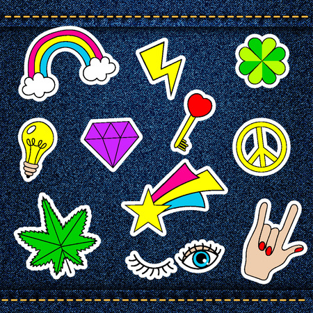 patch of light: happy patches, retro badges with lucky clover, heart, star, diamond, eye, rainbow, key, light bulb, cannabis over denim jeans texture with strings and seams. Cute stickers, pins for embroidery