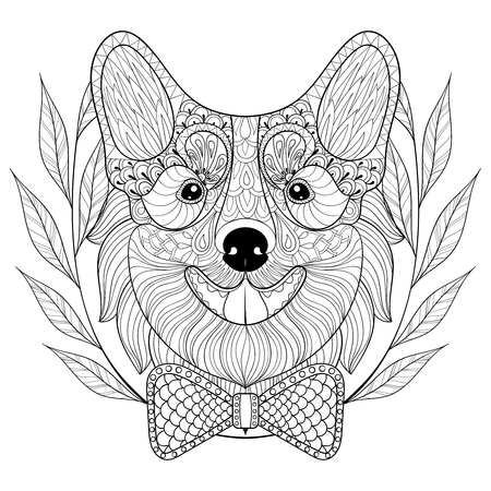 Welsh Corgi with bow tie in wreath, doodle style.  puppy, Dog face illustration for adult antistress coloring page, book, art therapy, for  t-shirt print, tattoo. Illustration