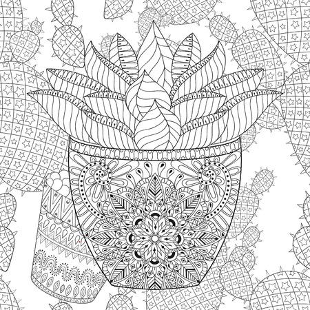 Enredar Cactus Conjunto, Ilustración. Delinear Las Plantas Del ...