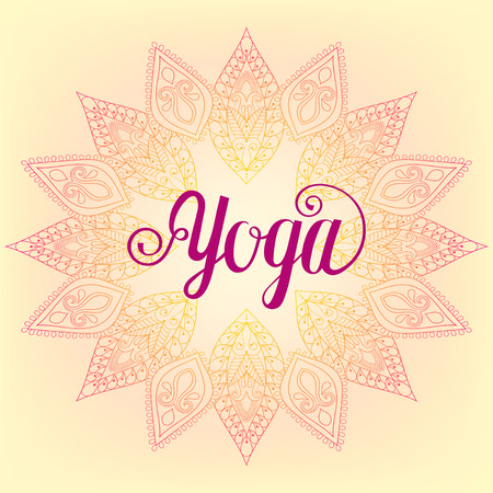 centers: Yoga design,template, emblem with leaves and flowers for invitation, yoga gym classes illustration, meditation and Buddhism, beauty and spa holistic centers.
