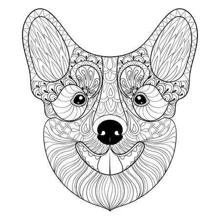 pembroke: Dog face in monochrome doodle style. puppy, Pembroke Welsh Corgi head illustration for adult antistress coloring pages, books, art therapy. Sketch for  t-shirt print
