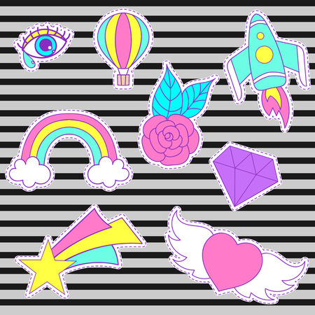 Happy fashion patches, retro sweet badges with heart, star, diamond, eye, rainbow, space rocket, rose, air balloon. Cute pink, blue stickers, pins for embroidery