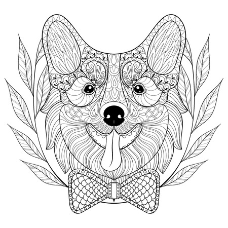 pembroke: Welsh Corgi with bow tie, wreath frame. happy puppy, Pembroke Dog face illustration for adult antistress coloring pages, books, art therapy. Sketch for  t-shirt print. Illustration