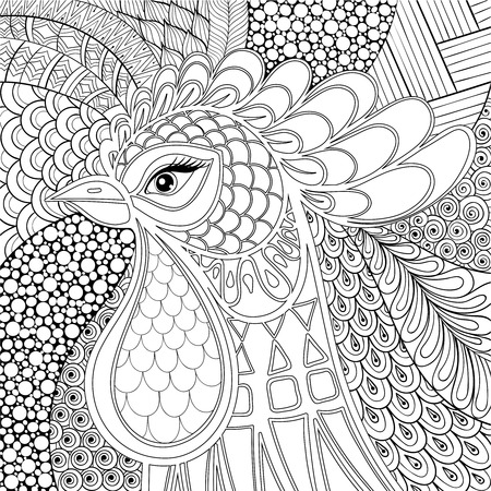 Rooster illustration. Symbol 2017 New Year. farm bird in monochrome doodle style for adult antistress coloring pages, books, art therapy. Sketch for tattoo, t-shirt print.