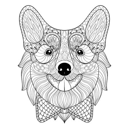 Hund Gesicht In Schwarz-Weiß Doodle-Stil. Welpen, Welsh Corgi ...