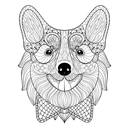 art therapy: Welsh Corgi with bow tie in monochrome doodle style.  puppy, Dog face illustration for adult antistress coloring pages, books, art therapy. Sketch for t-shirt print.