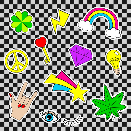 lucky clover: Happy patches, retro badges with lucky clover, heart, star, diamond, eye, rainbow, key, light bulb, cannabis over gray background. Cute stickers, pins, icons, labels for embroidery