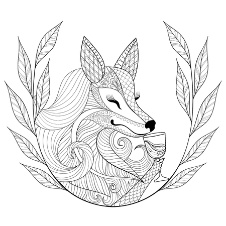 wine book: Fox with glass of wine in monochrome doodle style.  Wild animal with wreath, face illustration for adult coloring page, book, art therapy. Sketch for  t-shirt print. Illustration