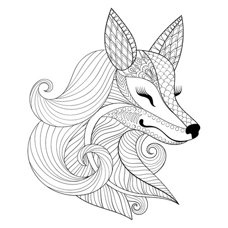 antistress: Fox face in monochrome doodle style.Wild animal, face illustration for adult coloring pages, books, art therapy. Black and white sketch for  t-shirt print.