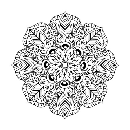 samsara: Mandala in doodle style. illustration for adult antistress coloring pages, books, art therapy, mehendy t-shirt print. Template for tattoo design with mehndi elements. Illustration