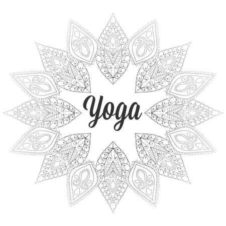 centers: Yoga monochrome design,template, emblem with leaves and flowers for invitation, yoga gym classes illustration, meditation and Buddhism, beauty and spa holistic centers.
