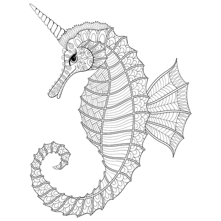 horse like: stylized black Sea Horse like Unicorn.illustration for adult coloring books, isolated on white background. Sketch for tattoo or makhenda. Sea collection.