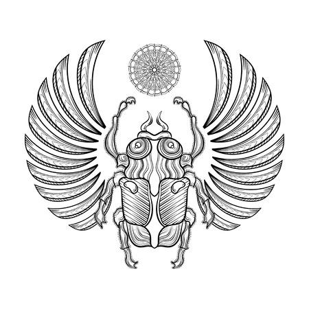 illustratie egyptische mestkever met vleugels. Egyptische pictogrammen. Doodle bug. Magic, spiritualiteit Egyptische heilige insect, geheimzinnigheid kever, mythologie mestkever als symbool van de Zon