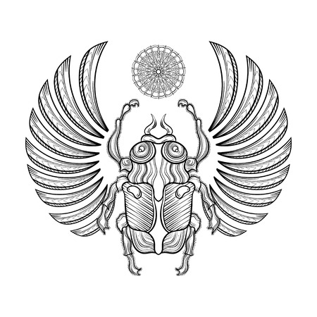 illustration egyptian scarab beetle with wings. Egyptian icons. Doodle bug. Magic, spirituality Egyptian sacred bug, mystery beetle, mythology scarab as symbol of the Sun