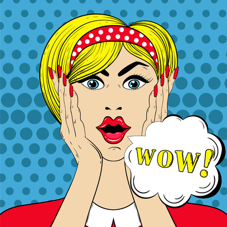 eyes wide open: WOW face in Pop Art style, Surprised scared Woman with wow-sign for sale cards, banners, template. illustration Illustration