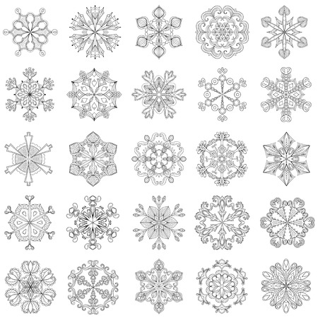 snowflake snow: Vector snowflake set in zentangle style. 25 original snow flakes for Christmas, New Year decoration. Hand drawn doodle objects.