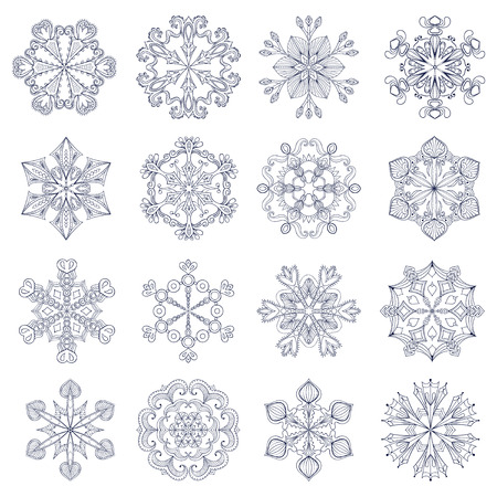 Vector Vintage Copo De Nieve En Estilo Zentangle. 25 Copos De Nieve ...