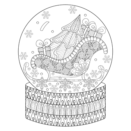Vector zentangle snow globe with sledge, Christmas tree and gift boxes. Hand drawn ethnic decorative elements for adult coloring book. Vector illustration for New Year 2017 posters and greeting cards Reklamní fotografie - 68803677