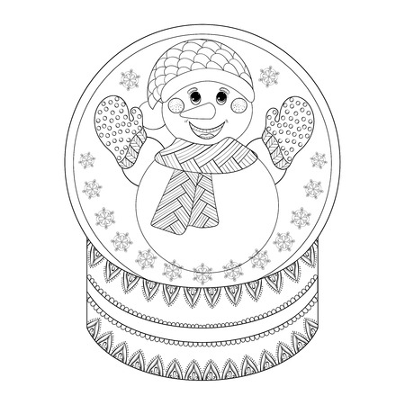 Hand Drawn Ethnic Decorative Snowglobe For Adult Coloring Book Illustration New Year 2017 Posters And Greeting Cards