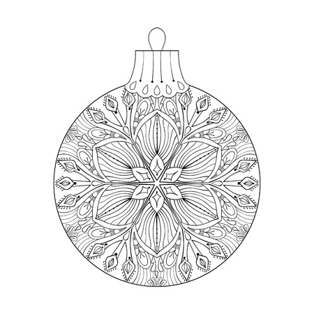 christmas symbol: Vintage vector Christmas ball with mistletoe, New Year 2017 freehand decoration element. Artistic patterned illustration for adult coloring book pages. books, art therapy. Winter symbol Isolated on white