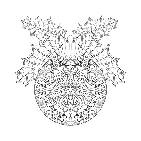 books isolated: Vector vintage Christmas ball with mistletoe, New Year 2017 freehand decoration element. Artistic patterned illustration for adult coloring book pages. books, art therapy. Winter symbol Isolated on white