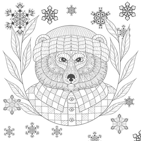 brutal: Vector brutal bear in hat, flannel shirt in zentangle, doodle style. Sketch for tattoo, postcards, adult anti stress coloring page.