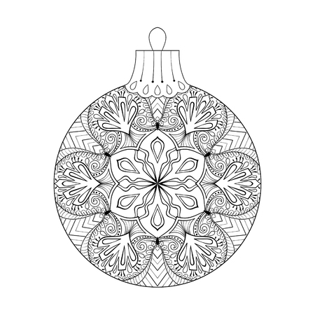 books isolated: Vector vintage Christmas ball, New Year 2017 freehand decoration element. Artistic patterned illustration for adult coloring book pages. books, art therapy. Isolated winter symbol
