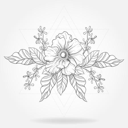 Boho tattoo uit de vrije hand. Blackwork bloem in hipster driehoeken frame. Vectorillustratie, tatoegeringsschets op wit voor t-shirtdruk, affiche, textiel wordt geïsoleerd die. Zeer fijne tekeningen. Vector Illustratie