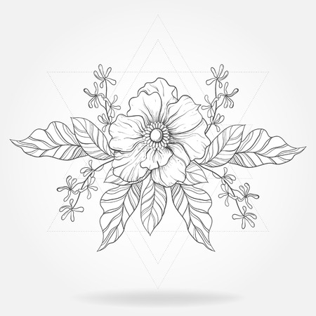 Freehand boho tattoo. Blackwork flower in hipster triangles frame. Vector illustration, tattoo sketch isolated on white for t-shirt print, poster, textile.  Line art drawing. Illustration