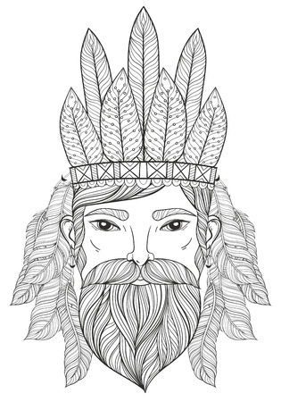 man of war: Vector zentangle Portrait of Man with Mustache, beard, war bonnet with feathers for adult coloring pages, tattoo art, ethnic patterned t-shirt print.