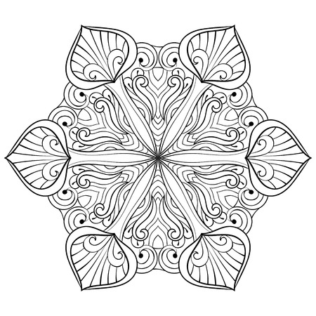 Vector snow flake in zentangle doodle style, mandala for adult coloring pages. Ornamental freehand winter illustration for decoration. Christmas greeting cards, invitation template.